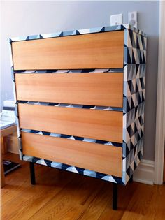 Vintage dresser makeover, use Spoonflower wallpaper or peel and stick decal to customize your own