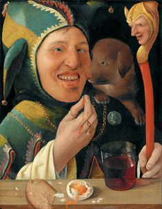 """mosertone: """"Marx Reichlich - The Jester. 1519 - 1520 """" Marx Reichlich (At The Jester (c Hardly to believe this painting is not painted in the cent. Medieval Jester, Medieval Costume, Medieval Art, Medieval Door, Tempera, Clowns, Court Jester, Art Gallery, Pierrot"""