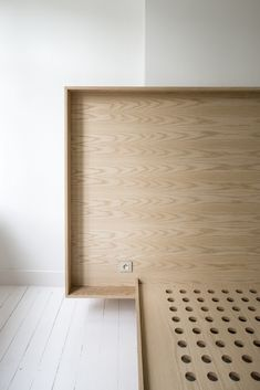 Minimalist bed frame at the Happy Guesthouse in Brussels | Remodelista