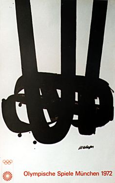 1972 Munich Olympic Games Art Series Poster - Pierre Soulages - Original Olympic Poster