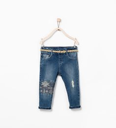 EMBROIDERED BOYFRIEND JEANS AND BELT from Zara 18-24mos <<  I need these for Alice when they go on sale!!