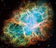 Just gorgeous. This is the mess that is left when a star explodes. The Crab Nebula, the result of a supernova seen in 1054 AD, is filled with mysterious filaments. Click through for more description.