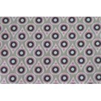 Tissu Saki, coloris rose et gris,par 50cm sur 1.5m, coton