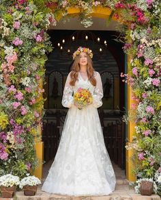 [Pretty gown--A-line. The V neckline looks good with the A-line skirt. Bohemian Wedding Dresses, Dream Wedding Dresses, Bridal Dresses, Wedding Gowns, Printed Bridesmaid Dresses, Minimal Wedding, Woodland Wedding, The Dress, Marie