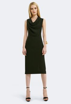 Image 3 of AQ/AQ Veronika Cowl Neck Midi Dress with Crossover Back · Black