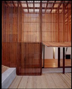 translucent skeletal facade operable timber shutters by sean godsell architect Wood Architecture, Contemporary Architecture, Architecture Details, Architecture Interiors, Timber Battens, Timber Screens, Tucker House, Wood Facade, Interior And Exterior