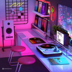 vaporwave decor Vinyl is Life Photographic Print by Denny Busyet Neon Bedroom, Room Ideas Bedroom, Bedroom Decor, Neon Room Decor, Hipster Room Decor, Bedroom Office, Neon Aesthetic, Aesthetic Room Decor, Retro Bedrooms