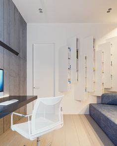 Located near Kiev, Ukraine, this home boasts a creative and effective 105 square meter floor plan to accommodate a family with one young child and one infant. D