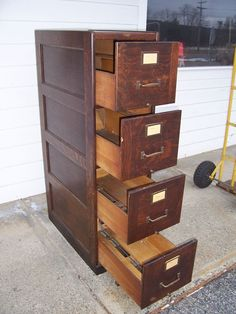 Antique Quarter Sawn Oak 4 Drawer File Cabinet Doctoru0027s Lawyeru0027s Office Mission | eBay & 4 Drawer Wood File Cabinet | Wood File Cabinet | Pinterest | Drawers ...