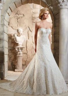 Morilee Bridal Embroidered Appliques Trimmed with Crystal Beading and Scalloped Hemline