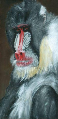 "Saatchi Art Artist Nicola Colbran; Painting, ""Moody Mandrill"" #art"