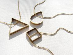 Geometric necklace, Brass jewelry, geometric jewelry, minimal modern necklace, teardrop necklace, Cyber Monday sale
