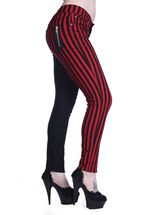 Banned Apparel Half Black Half Red Striped Trousers