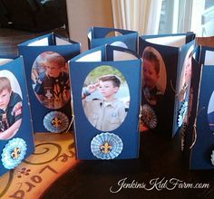 Jenkins Kid Farm: Blue and Gold Banquet Centerpiece - Tri-fold Photo Frame