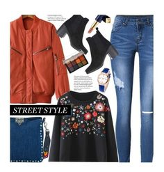 """""""Street Style"""" by beebeely-look ❤ liked on Polyvore featuring Valentino, Topshop, Estée Lauder, Viseart, NYFW, floral, sammydress, streetwear and StreetSyle"""