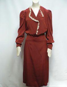 vintage 1930s brown silk lace dress / 30s hollywood dress / 30s cocktail dress | eBay
