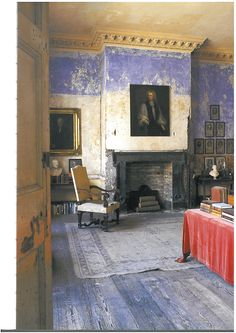 Irish Georgian Interior. Gorgeous bones and patina, periwinkle and those antique floors.