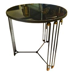 Jean Royere Rare Round Coffee Table In Black Painted  Iron