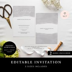 Wedding Invitation (Lily Collection) - DIY Printable Wedding Stationery, Template Set, Simple to edit INSTANT DOWNLOAD by JellypressPrintables on Etsy