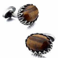 TIGERIUS - pánske manžetové gombíky - osadené drahokamom: Tigrie oko Cufflinks, Gemstone Rings, Gemstones, Accessories, Jewelry, Luxury, Jewlery, Gems, Bijoux