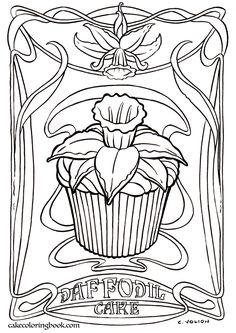 Coloring Book Daffodil Cupcake
