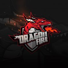 Logotipo do jogo dragon shield sports Vetor Premium Game Logo Design, Logo Design Template, Logo Dragon, Barber Logo, Dragon Shield, Esports Logo, E Sport, Shield Logo, Animal Logo