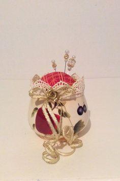 Upcycle sugar bowl pincushion handpainted fruit by DKCRAFTSSHOP