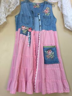 Upcycled Clothing Art to Wear Shabby Chic Denim Vest