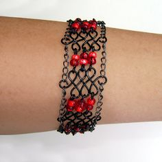 Handmade Gothic wire wrapped bracelet with by reneeamberdesigns, $20.00