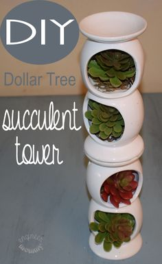Dollar Tree Crafts - DIY Dollar Tree Succulent Tower - DIY Ideas and Crafts Projects From Dollar Tree Stores - Easy Organizing Project Tutorials and Home Decorations- Cheap Crafts to Make and Sell Crafts To Make And Sell, Fun Crafts For Kids, Diy Home Crafts, Decor Crafts, Sell Diy, Summer Crafts, Kids Fun, Creative Crafts, Diy Crafts Cheap