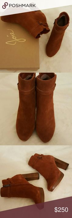 Joie Denez Rust Suede Booties Suede upper. Side-zip closure. Round toe. Leather lining. Lightly padded footbed. Stacked platform and heel. Leather sole.  Measurements: Heel Height: 4 in Weight: 14 oz Circumference: 9 3⁄4 in Shaft: 6 1⁄2 in Platform Height: 3⁄4 in Joie Shoes