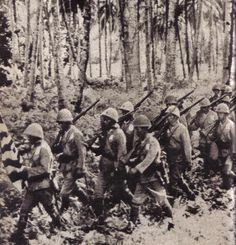 Japanese marching through the forests of Guadalcanal.I Japanese took the floor in the 'island at the end of June to build an airport - Pin it by GUSTAVO BUESO-JACQUIER