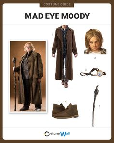 The best costume guide for dressing up like Mad Eye Moody, the famous Auror and professor that appeared in J.K. Rowling's Harry Potter.