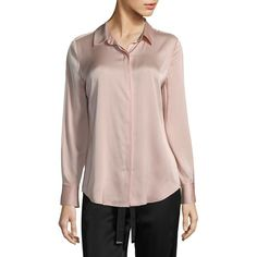 Donna Karan New York Classic Silk-Blend Blouse ($145) ❤ liked on Polyvore featuring tops, blouses, long sleeve blouse, donna karan blouses, donna karan, donna karan tops and pink top