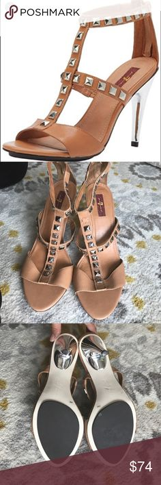 7 For All Mankind Detour Leather Sandal Brand new 💗Leather Sandals💗 size 9. Missing 1 stud on left heel (as shown on picture), and small scratch on heel (as shown on picture). 7 For All Mankind Shoes Heels