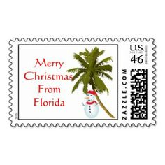 Merry Christmas from Florida, snowman under palm Postage Stamp