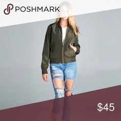 HP SALE- Olive Bomber Jacket Olive Bomber jacket - %100 polyester. Perfect staple jacket for fall  Price is firm, no trades. April Spirit Jackets & Coats
