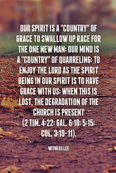 "Our spirit is a ""country"" of grace to swallow up race for the one new man; our mind is a ""country"" of quarreling; to enjoy the Lord as the Spirit being in our spirit is to have grace with us; when this is lost, the degradation of the church is present (2 Tim. 4:22; Gal. 6:18; 5:15; Col. 3:10-11). Witness Lee. Quoted at www.agodman.com."