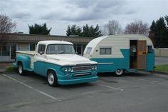 VINTAGE SHASTA CAMPERS | dodge truck and 1960 s shasta trailer aloha trailer 1960...awesome set up!