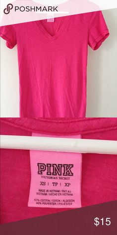 VS PINK Hot pink/ magenta t shirt. Size XS Size XS fits S. Barely worn. Soft and light fabric PINK Victoria's Secret Tops Tees - Short Sleeve