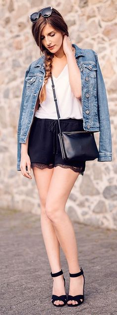 black lace shorts casual style