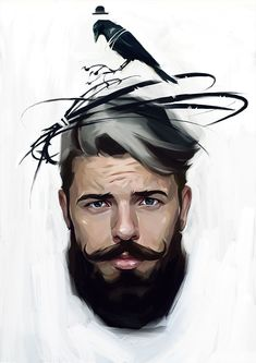 """Series """"M"""" for the festival illustration and design """"Lustra"""" in Moscow. A series of eight portraits of men. I can not tell long drawn about the meaning, I hope everyone will find in it something of his own. Birds can symbolize anything. Perhaps this is w…"""
