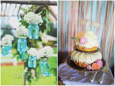 Bundt wedding cake Blue mason jars with baby's breath Mr. & Mrs. Harvey Cean One Photography - California Bella Bloom Florals - Sherwood, Oregon  Venue: Langdon Farms