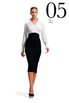 Trompe l'oeil style dress with wrap shirt and fitted skirt. Sleeve buttons reflective of cufflinks.