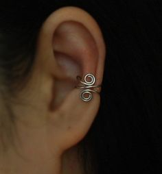 Spiral Ear Cuff, Ear Jacket, Ear Wrap, No Piercing Cartilage Ear Cuff, Original Rhodium Plated or 16K gold dipped Wire