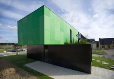 container home with green roof
