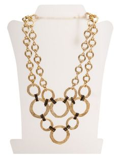 """Oxidized gold statement necklace featuring two layers of circles of different length linked by thin hematite chain. 21.5"""" long x 4.5"""" height pewter/24k gold ox"""