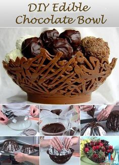 More sweet treats at http://pinterest.com/wineinajug/sweet-treats/ DIY Edible Chocolate Bowl #chocolate #edible #fooddecoration #diy