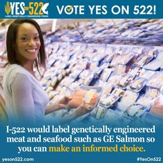 Don't be fooled I-522 would label GE meat. Fishing families support I-522 because it would label the first genetically engineered animal: GE Salmon. http://yeson522.com/fish/  #YesOn522 #LabelGMOs