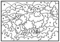 """Fun the way the sheep is """"lost"""" in the puzzle until you color it by number, too! Neat! illustration parable of the lost sheep"""